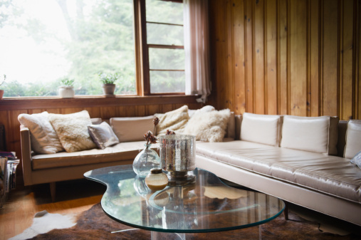 Living Room「USA, New York, Putnam Valley, Roaring Brook Lake, Living room in summer home」:スマホ壁紙(17)