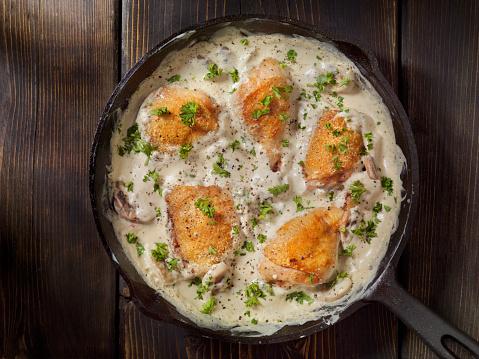 Cast Iron「Pan Fried Chicken in Cream Mushroom Sauce」:スマホ壁紙(5)