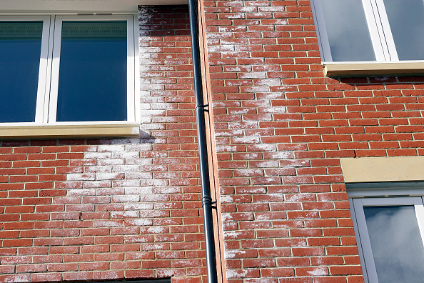 Brick Wall「A white powdery deposit, called efflorescence is common on new brick walls. It is caused by salts in the bricks reacting with rain-water as soluble salts are transported to the surface of the brickwork by water. Persistent efflorescence should be taken a」:写真・画像(3)[壁紙.com]