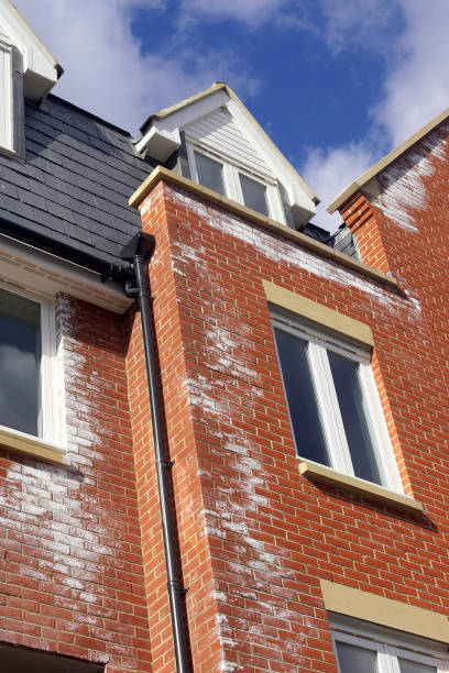 A white powdery deposit, called efflorescence is common on new brick walls. It is caused by salts in the bricks reacting with rain-water as soluble salts are transported to the surface of the brickwork by water. Persistent efflorescence should be taken a:ニュース(壁紙.com)