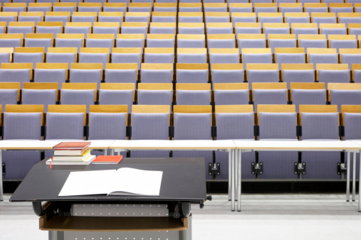 Hardcover Book「Empty Lecture hall view from high desk to seat rows」:スマホ壁紙(2)