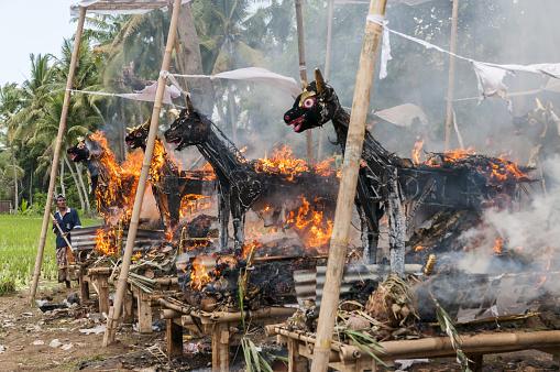 Cremation「Balinese cremation ceremony, burning effigies」:スマホ壁紙(10)