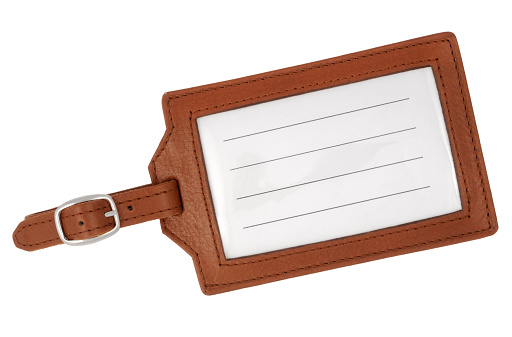 Strap「Blank, brown, leather luggage tag with white background」:スマホ壁紙(3)