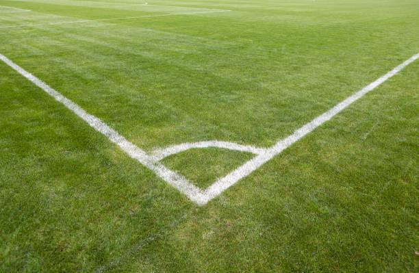 Football green grass field with corner white lines:スマホ壁紙(壁紙.com)