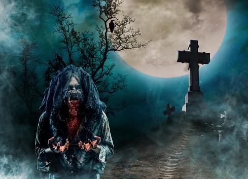 月「ゾンビーの古い墓地」:スマホ壁紙(17)