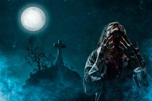月「ゾンビーの古い墓地」:スマホ壁紙(18)