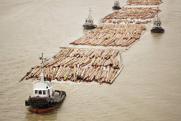 Tugboats transporting cut logs.:スマホ壁紙(壁紙.com)