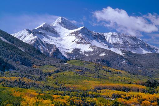 アンコンパグレ国有林「Fresh snow on Mount Wilson and forest in autumn colors, Uncompahgre National Forest, Colorado, USA」:スマホ壁紙(4)