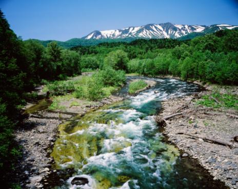 Daisetsuzan Volcanic Group「Flowing river below Mt Taisetsu, Kamikawa-machi, Hokkaido, Japan」:スマホ壁紙(2)