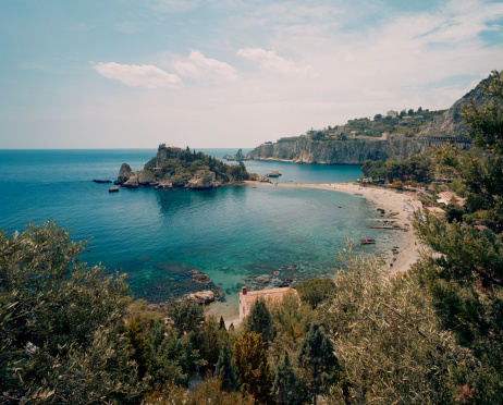 Sicily「Sandy beach and cove by Taormina」:スマホ壁紙(3)