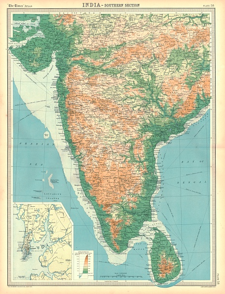 Sri Lanka「Map Of India - Southern Section Artist Unknown」:写真・画像(5)[壁紙.com]