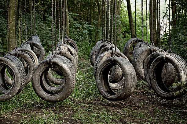 tyres obstacle at the forest:スマホ壁紙(壁紙.com)