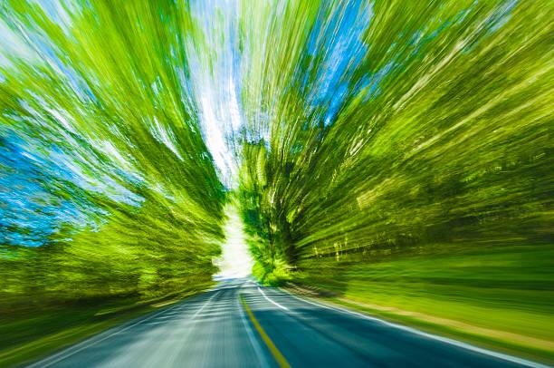 Blurred motion view of road and trees:スマホ壁紙(壁紙.com)