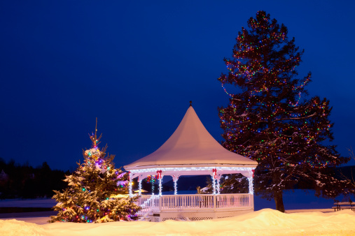 Bandstand「A Gazebo And Trees Decorated For Christmas」:スマホ壁紙(18)