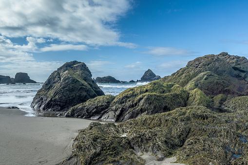 ビーチ「Rocky coastline and beach, Oregon, America, USA」:スマホ壁紙(3)