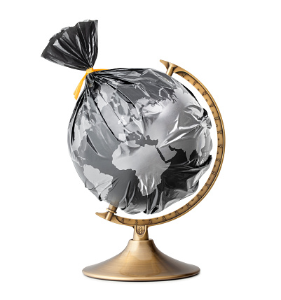 Accidents and Disasters「A globe of the earth in a plastic black bag like trash on white background」:スマホ壁紙(17)