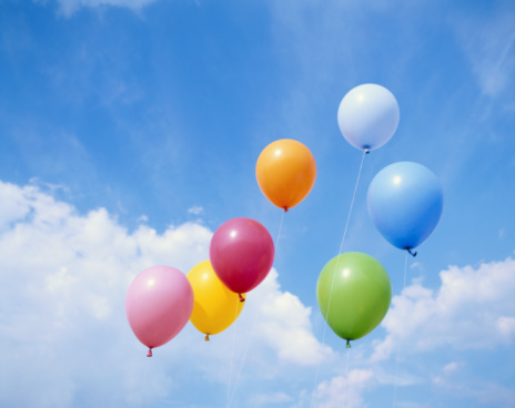 Balloon「Balloons floating against cloudy sky, low angle view」:スマホ壁紙(0)