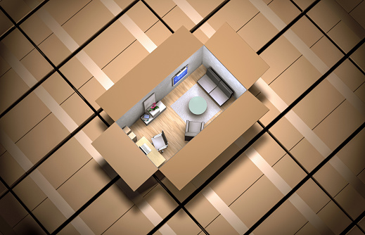 Container「cardboard box filled with furniture」:スマホ壁紙(13)