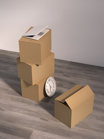 Watch - Timepiece「Cardboard boxes, laptop and a wall clock on wooden floor in an empty office, 3D Rendering」:スマホ壁紙(17)