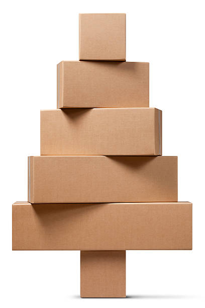 Cardboard boxes in the shape of a Christmas tree:スマホ壁紙(壁紙.com)