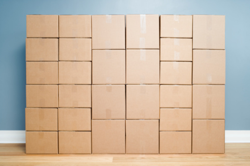 Medium Group Of Objects「Cardboard boxes stacked one on another」:スマホ壁紙(18)