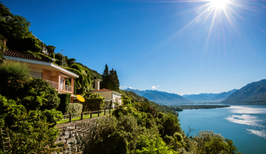 Villa「Summer cottages on a cliff at Lake Maggiore in Switzerland」:スマホ壁紙(5)