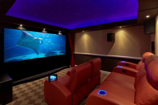 Entertainment Center「a movie plays on a high end luxury home theater sy」:スマホ壁紙(11)