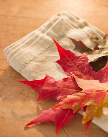 紅葉「Colorful autumn leaves on napkin」:スマホ壁紙(0)