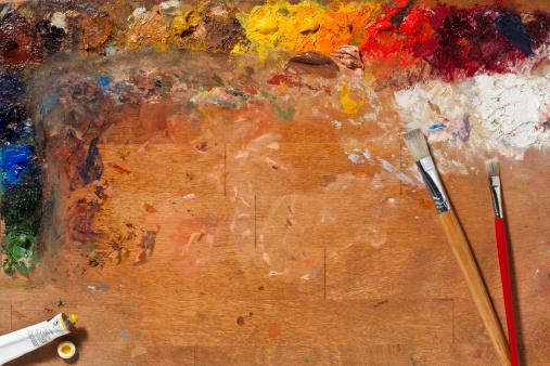 Artist's Palette「Painters Palette and Brushes. Full Frame, Horizontal.」:スマホ壁紙(19)