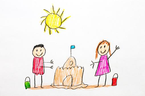 子供時代「Kids drawing of sand castle」:スマホ壁紙(14)