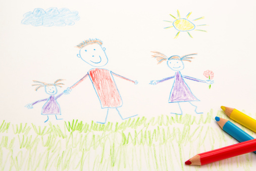 Cartoon「KId's drawing with coloured pencils」:スマホ壁紙(13)