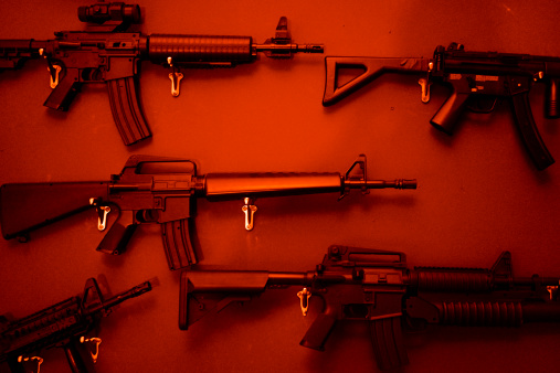 Weapon「Numerous Assault Rifles Hanging On Wall.」:スマホ壁紙(4)