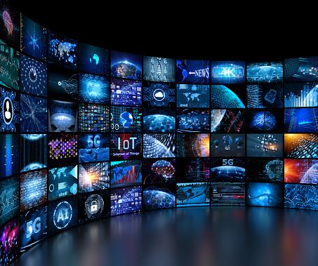 Information Medium「Media concept video wall with small screens」:スマホ壁紙(1)