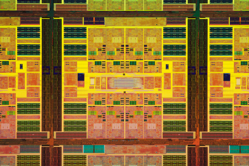 CPU「Close-up view of a colorful chip wafer」:スマホ壁紙(18)