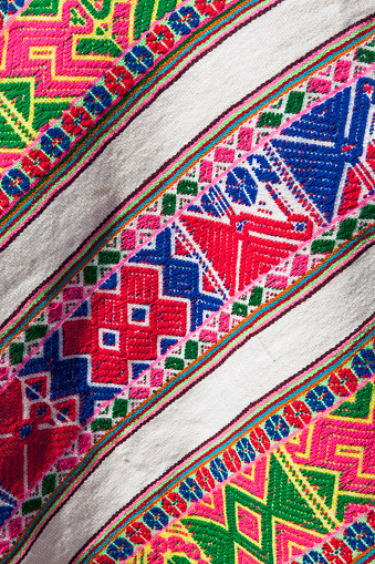 Traditional Clothing「Close-up view of traditional woven shawl showing geometrical motifs, Cusco, Peru」:スマホ壁紙(0)