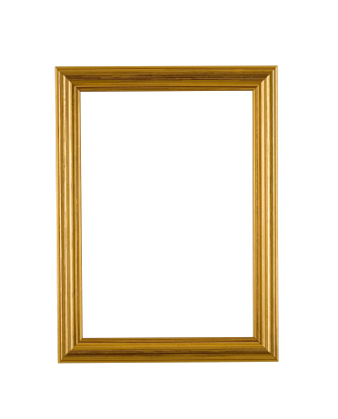 Moulding - Trim「Gold Picture Frame in Narrow Modern Style, White Isolated」:スマホ壁紙(19)