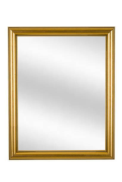 Gold Picture Frame with Mirror, Narrow Modern, White Isolated:スマホ壁紙(壁紙.com)