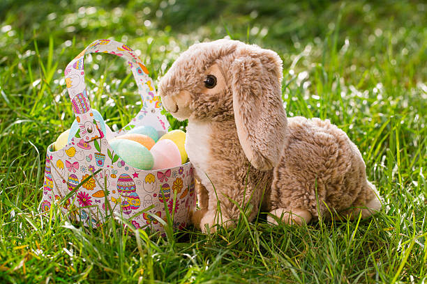 Easter bunny and bag of Easter eggs on a meadow:スマホ壁紙(壁紙.com)