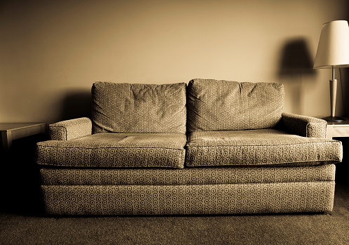 Pillow「Greyscale old worn out hotel sofa in retro pattern」:スマホ壁紙(0)