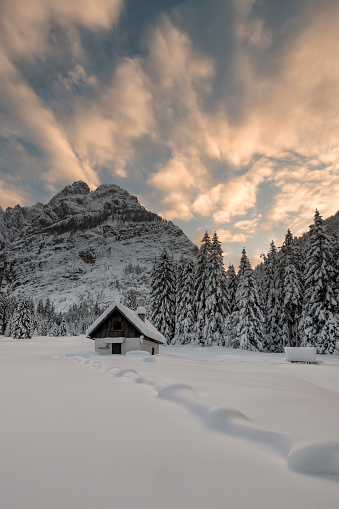 雪が降る「曇り空を背景夕暮れ時の冬の山のハー」:スマホ壁紙(7)