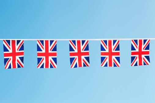 Bunting「union flag bunting against clear blue sky」:スマホ壁紙(13)