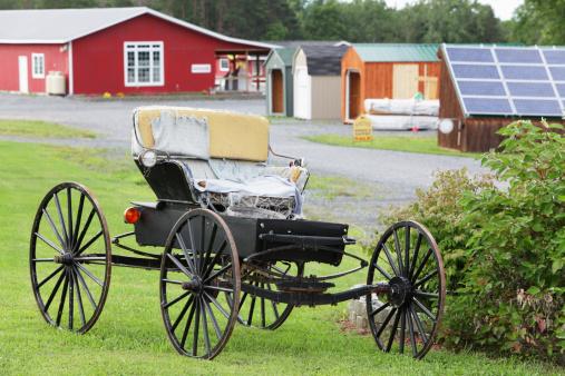 Horse-drawn carriage「アーミッシュのバギーにキャリッジ座席カバーが破れています。」:スマホ壁紙(12)