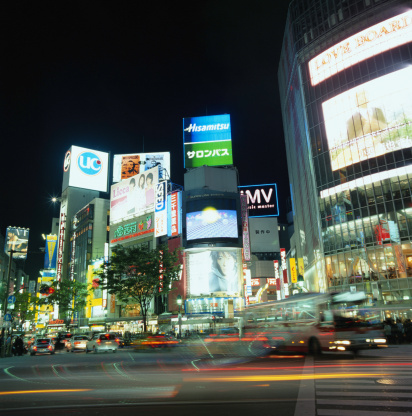 Shibuya Ward「Japan, Tokyo, Shibuya District, night (long exposure)」:スマホ壁紙(13)