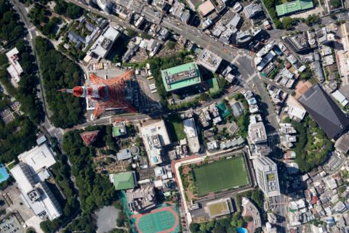 Minato Ward「Japan, Tokyo, Tokyo Tower, aerial view」:スマホ壁紙(6)