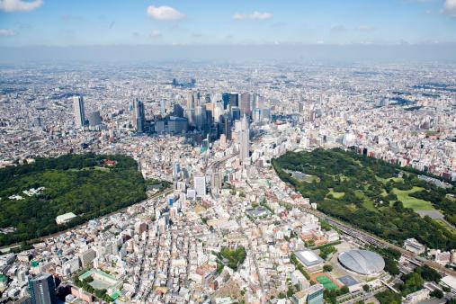 Shinjuku Ward「Japan, Tokyo, Shinjuku, Tokyo Metropolitan City Hall in the center, aerial view」:スマホ壁紙(19)