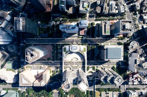 Shinjuku Ward「Japan, Tokyo, Shinjuku, Tokyo Metropolitan Government Building, aerial view」:スマホ壁紙(4)