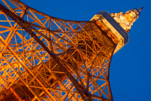 Minato Ward「Japan, Tokyo, Minato Ward, Tokyo Tower, low angle view」:スマホ壁紙(0)