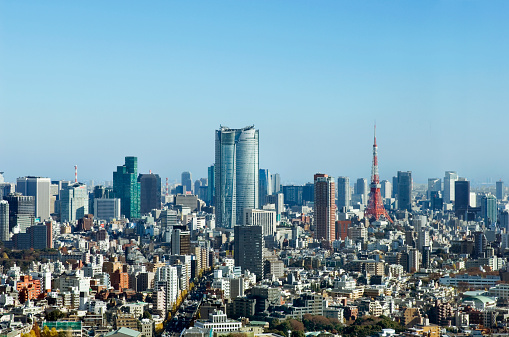 Tokyo Tower「Japan, Tokyo, Roppongi west, Kamiyacho left, Tokyo Tower to right」:スマホ壁紙(13)