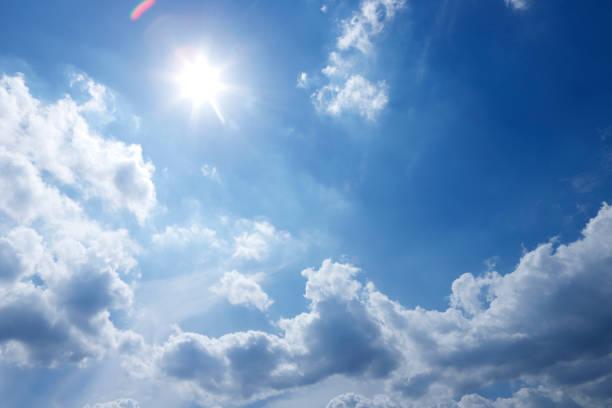 Bright sunshine glare against blue sky:スマホ壁紙(壁紙.com)
