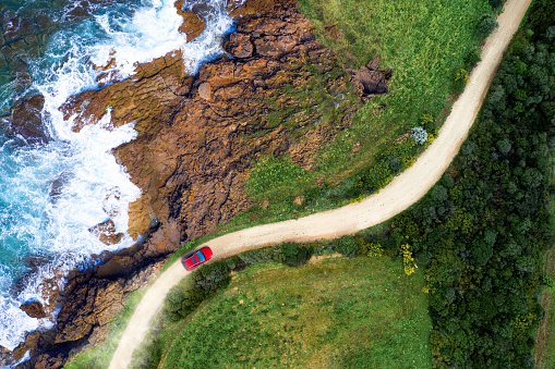 Hairpin Curve「Driving on a seaside road approaching a beach, seen from above」:スマホ壁紙(14)